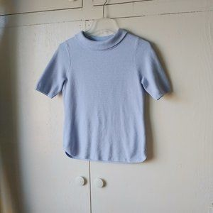 Talbot's Mock Neck Short Sleeve Baby Blue Sweater